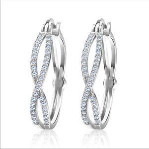 New Silver Twist Cross Shape Women's Diamond Ring